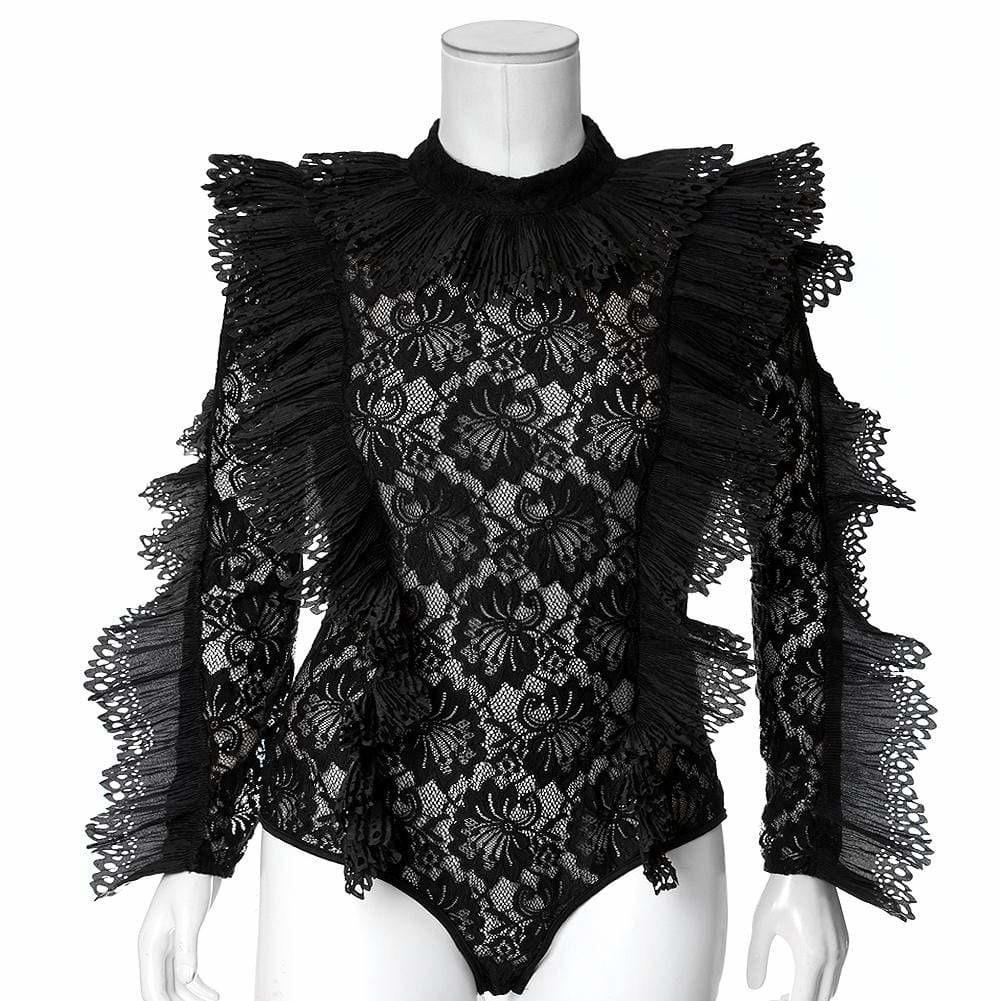 Plus Size Luxe Lace and Ruffles Bodysuit, Black