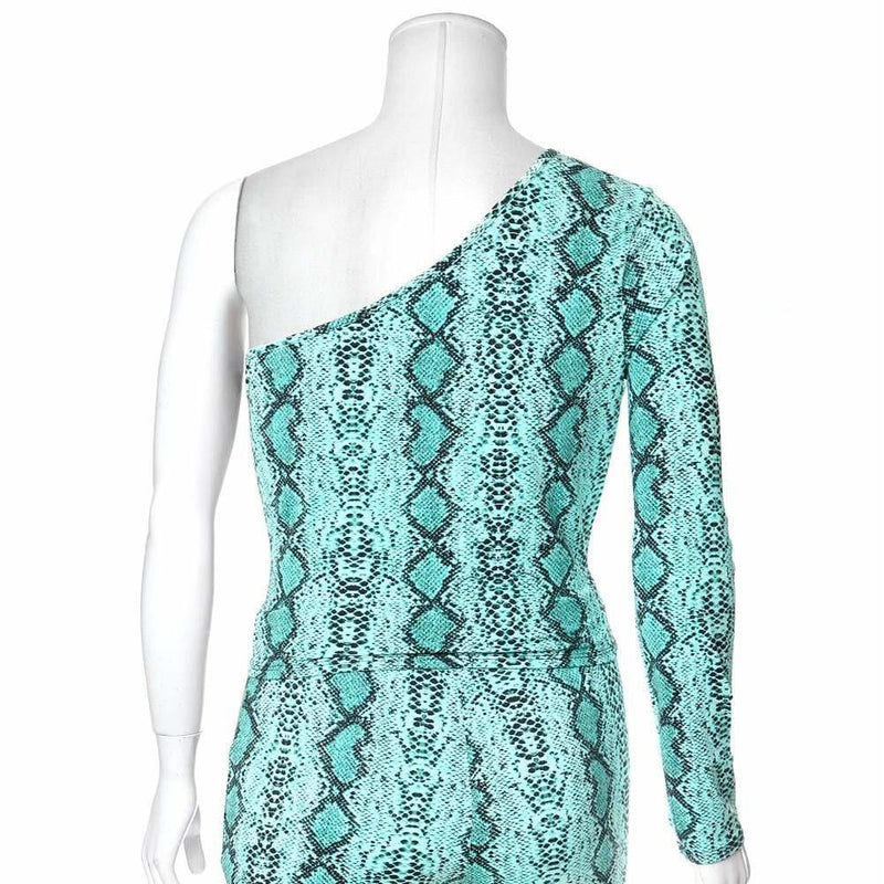 Posh Shoppe: Plus Size One Shoulder Snake Skin Top, Neon Blue Tops
