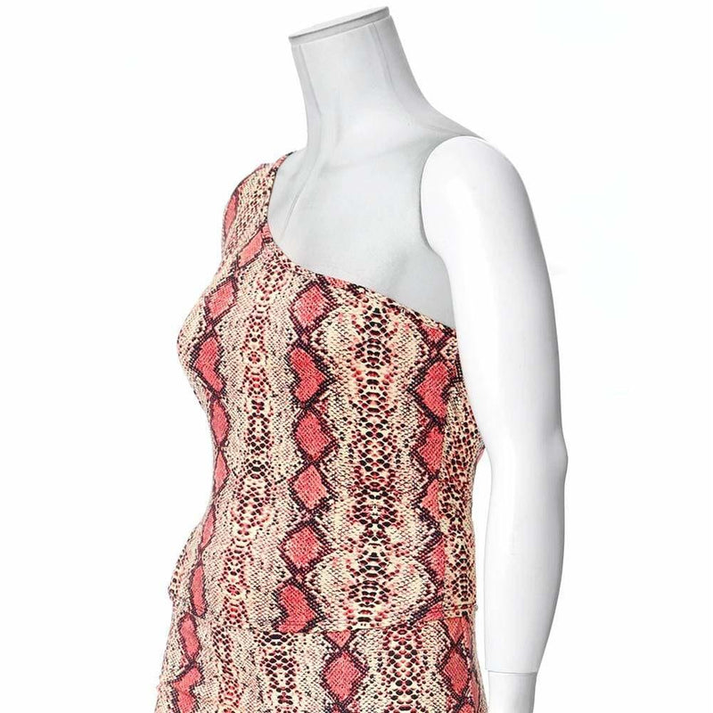 Posh Shoppe: Plus Size One Shoulder Snake Skin Top, Salmon Pink Tops