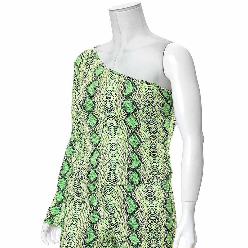 Posh Shoppe: Plus Size One Shoulder Snake Skin Top, Neon Green Tops
