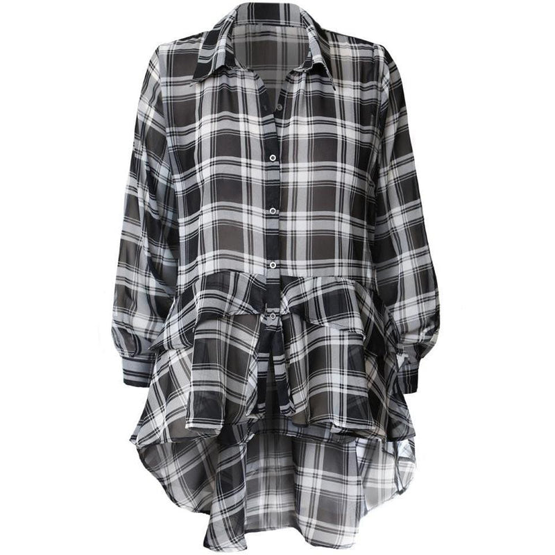 Plus Size Ruffle Hem Chiffon Shirt, Black Plaid