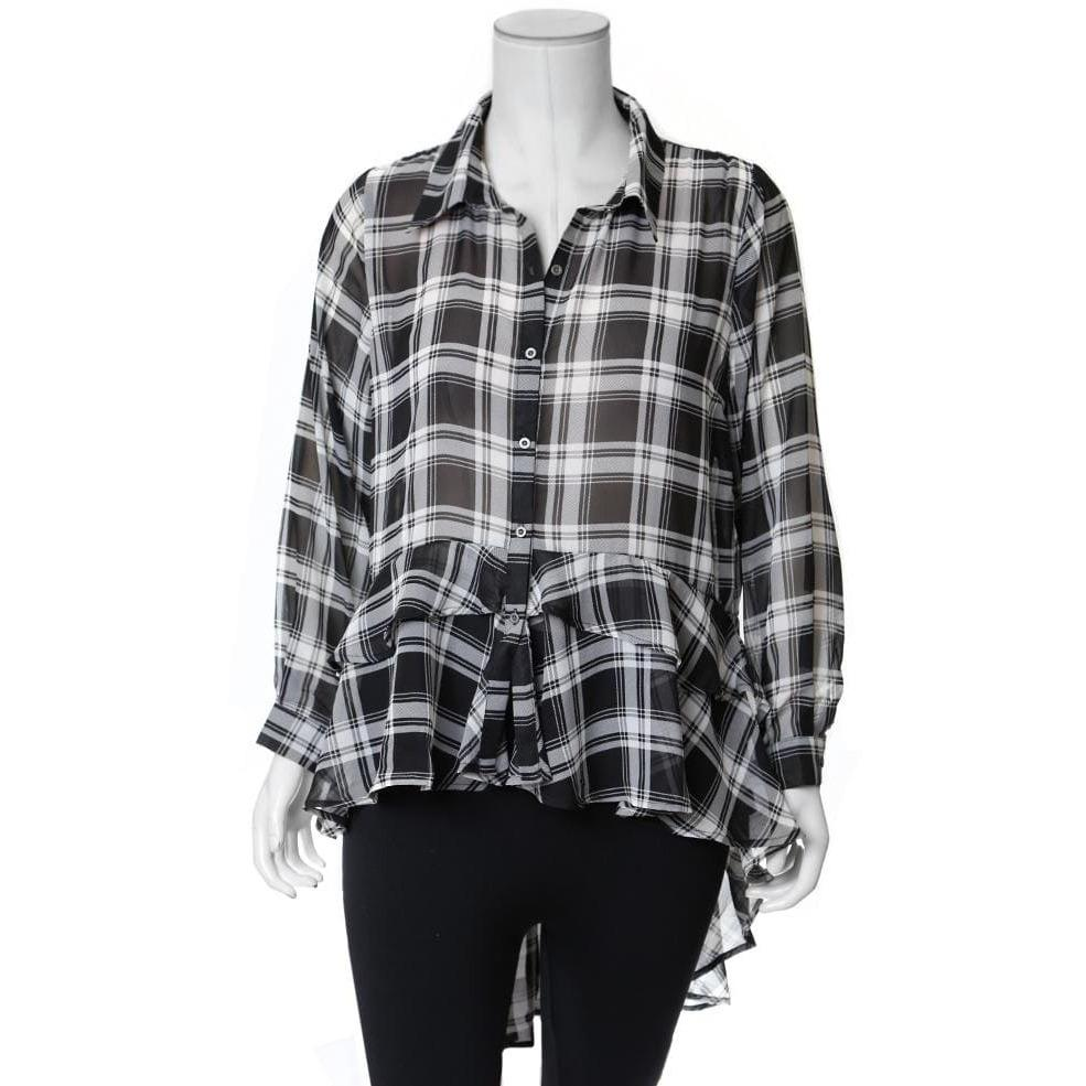 Posh Shoppe: Plus Size Ruffle Hem Chiffon Shirt, Black Plaid Tops