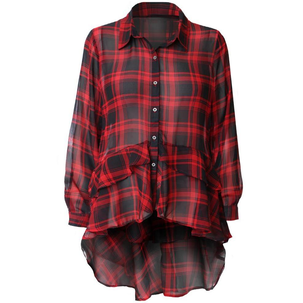 Posh Shoppe: Plus Size Ruffle Hem Chiffon Shirt, Red Plaid Tops