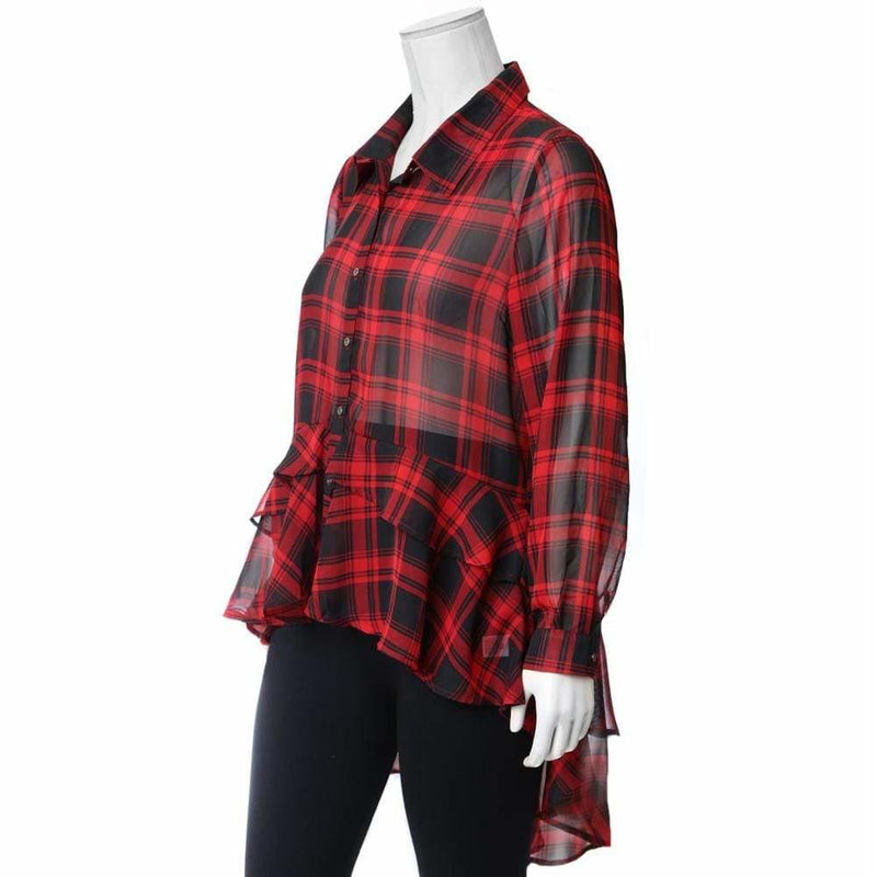 Plus Size Ruffle Hem Chiffon Shirt, Red Plaid