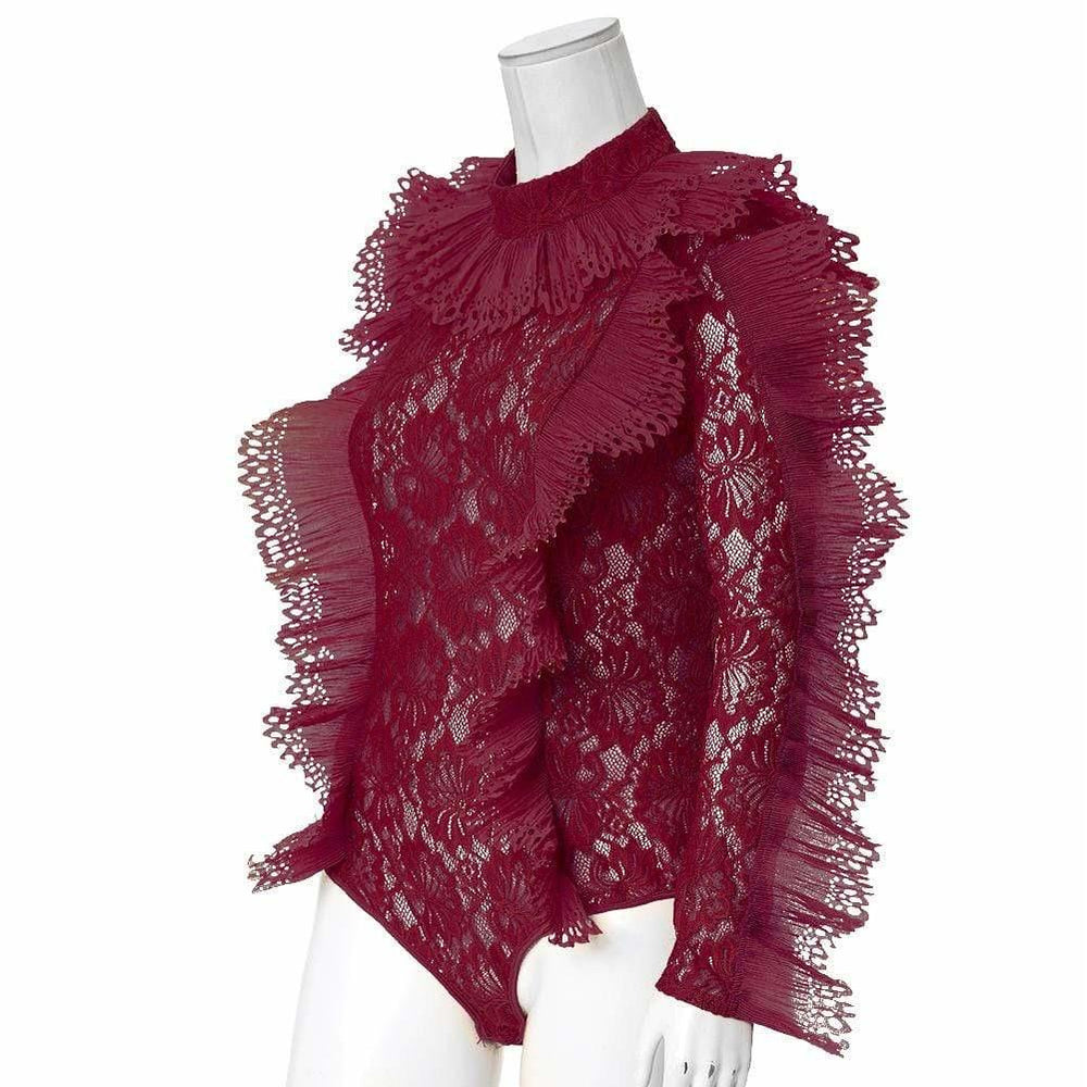 Posh Shoppe: Plus Size Luxe Lace and Ruffles Bodysuit, Burgundy Tops