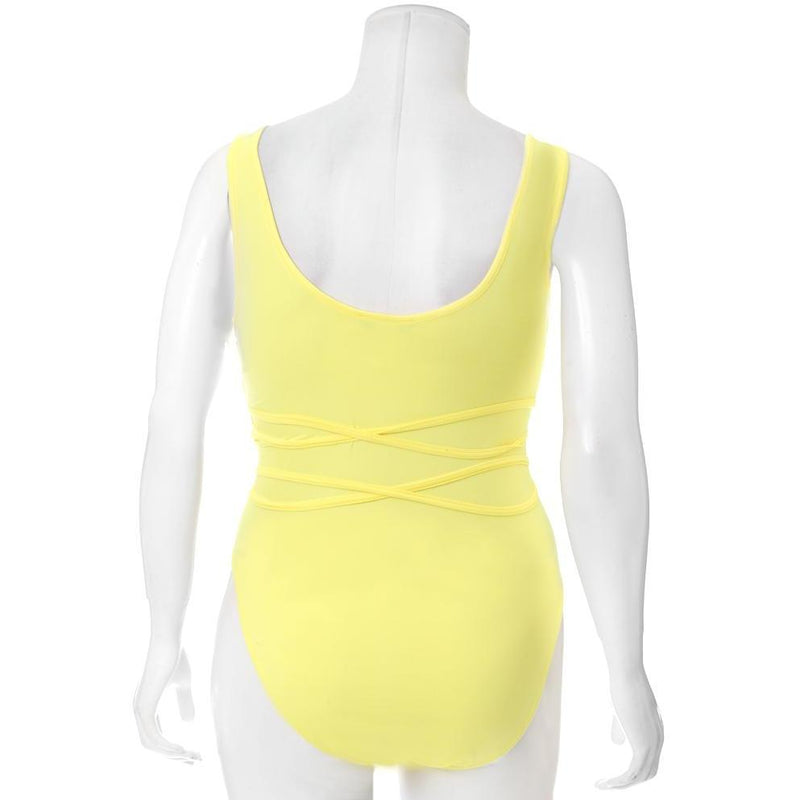 Plus Size Wrap Cut Out Bodysuit, Soft Yellow