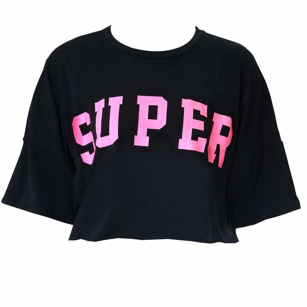 Posh Shoppe: Plus Size Crop Tee, Black Tops