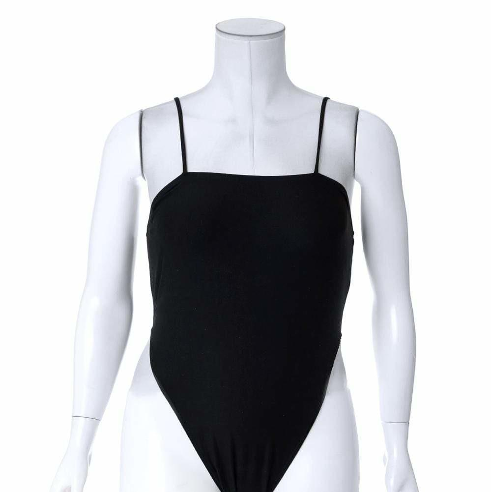 Plus Size Spaghetti Strap High Cut Bodysuit, Black