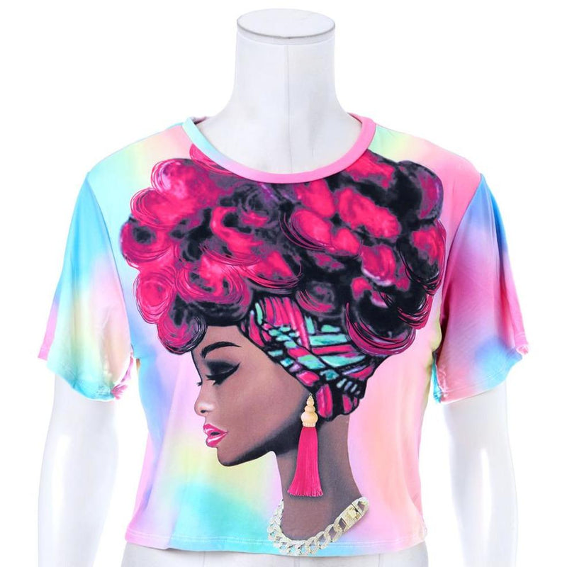 Plus Size Cropped Tie Dye Tee, Portrait