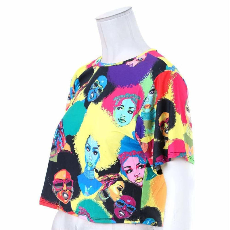 Posh Shoppe: Plus Size Cropped Graphic Tee, Pop Art print Tops