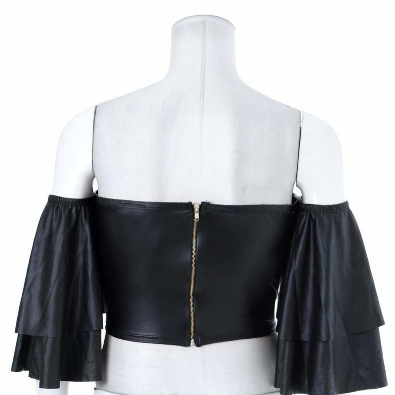 Plus Size Cropped Faux Leather Top