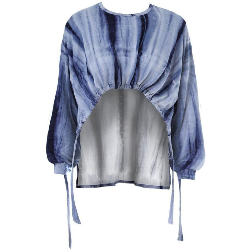 Posh Shoppe: Plus Size Tie Dye Cinch Top, Indigo Tops