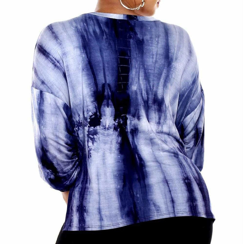Plus Size Tie Dye Cinch Top, Indigo