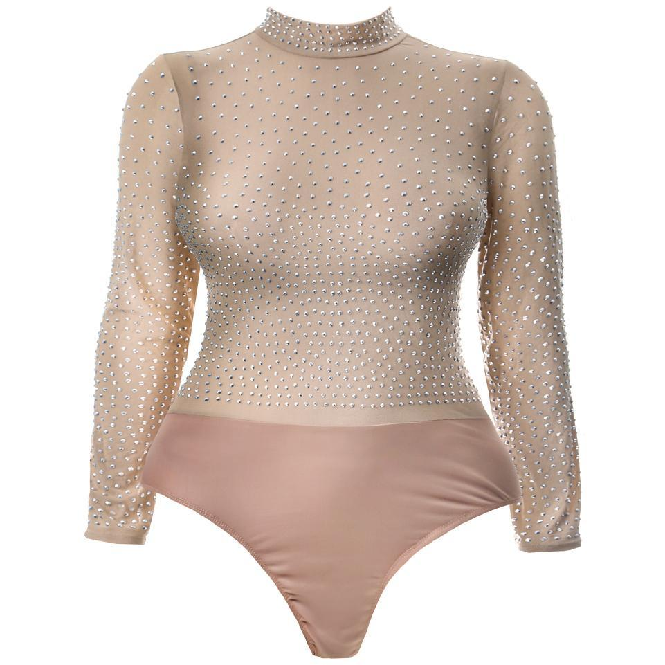 Posh Shoppe: Plus Size Studded Sheer Mock Neck Bodysuit, Nude Tops