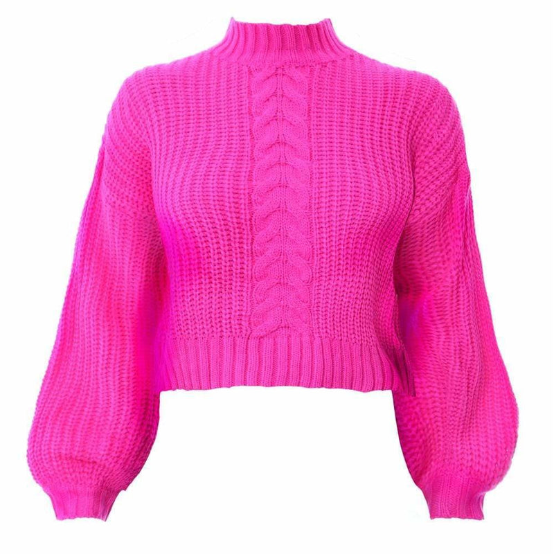Plus Size Cropped Cable Knit Sweater, Pink