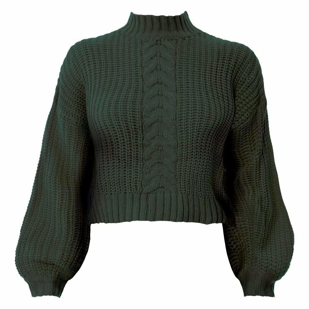 Posh Shoppe: Plus Size Cropped Cable Knit Sweater, Olive Tops