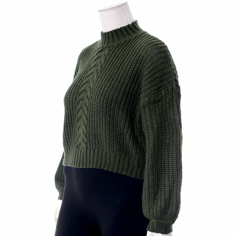 Plus Size Cropped Cable Knit Sweater, Olive