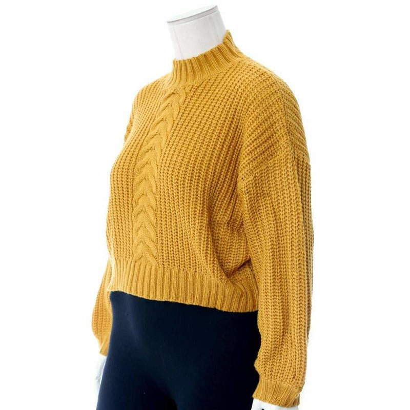 Posh Shoppe: Plus Size Cropped Cable Knit Sweater, Mustard Tops