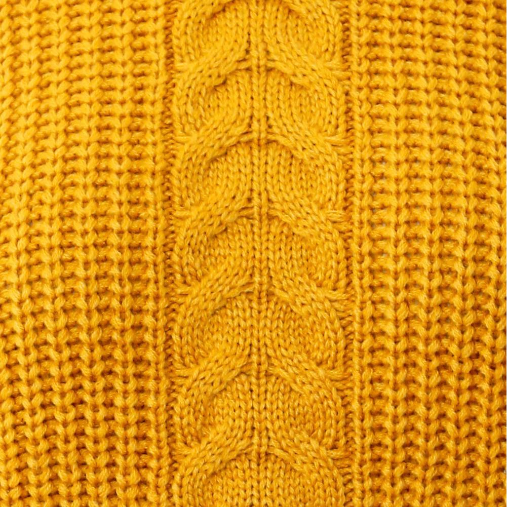 Plus Size Cropped Cable Knit Sweater, Mustard