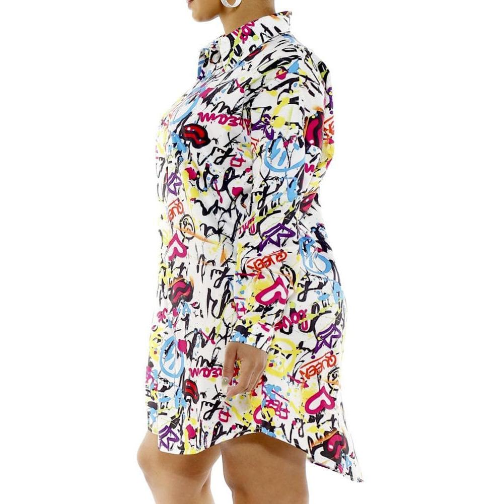Plus Size Oversized Button Up Shirt, Graffiti Print