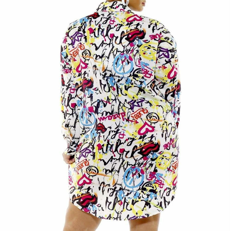 Posh Shoppe: Plus Size Oversized Button Up Shirt, Graffiti Print Tops