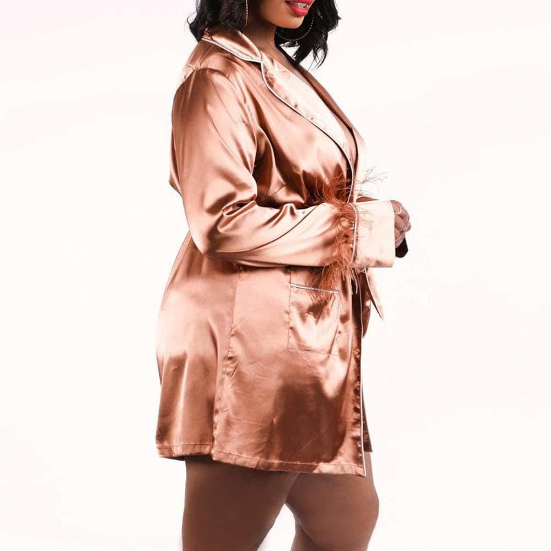 Posh Shoppe: Plus Size Feather Trim Sateen Robe Top, Mocha Tops