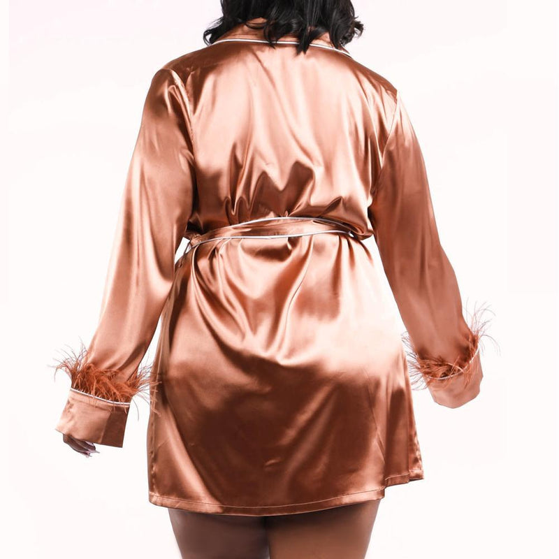 Plus Size Feather Trim Sateen Robe Top, Mocha