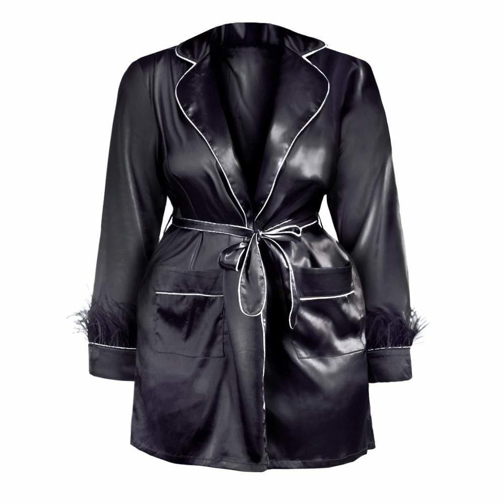 Posh Shoppe: Plus Size Feather Trim Sateen Robe Top, Black Tops