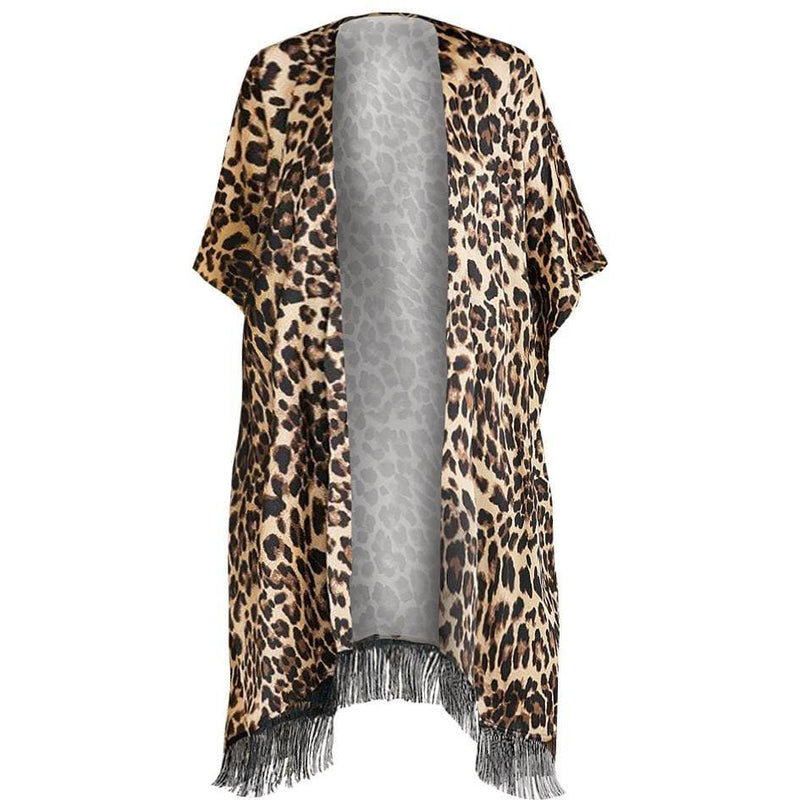 Plus Size Animal Print Shirt Jacket and Leggings Set, Brown & Tan