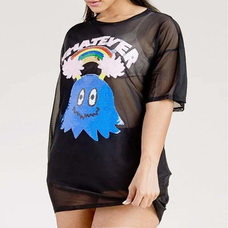 Posh Shoppe: Plus Size Graphic Oversized Mesh Tee, Sequin Patch Tops