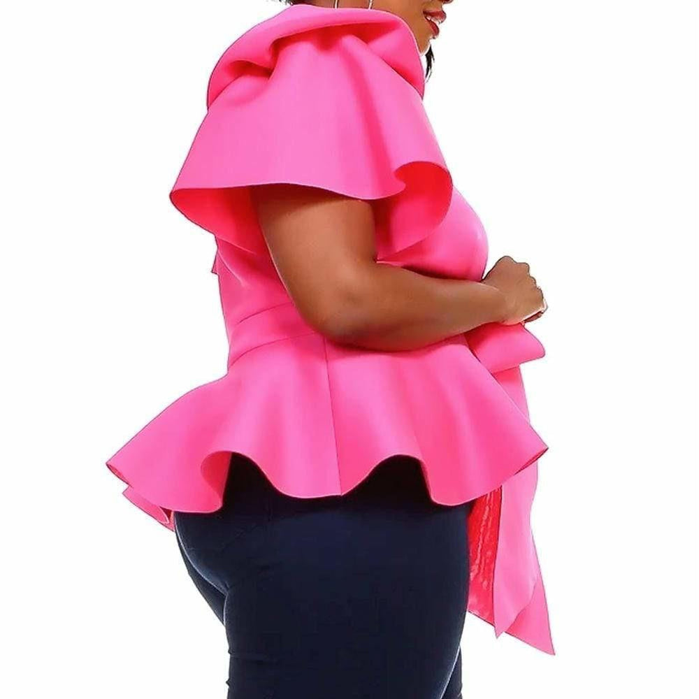 Posh Shoppe: Plus Size Puff Sleeve Tie Front Top, Pink Tops