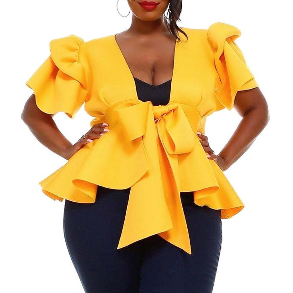 Posh Shoppe: Plus Size Puff Sleeve Tie Front Top, Yellow Tops