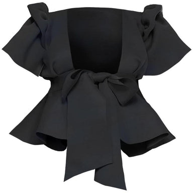 Posh Shoppe: Plus Size Puff Sleeve Tie Front Top, Black Tops