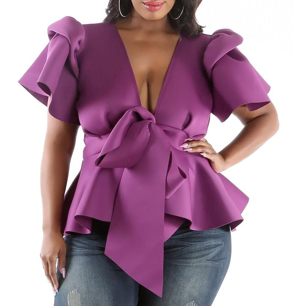 Posh Shoppe: Plus Size Puff Sleeve Tie Front Top, Lilac Tops