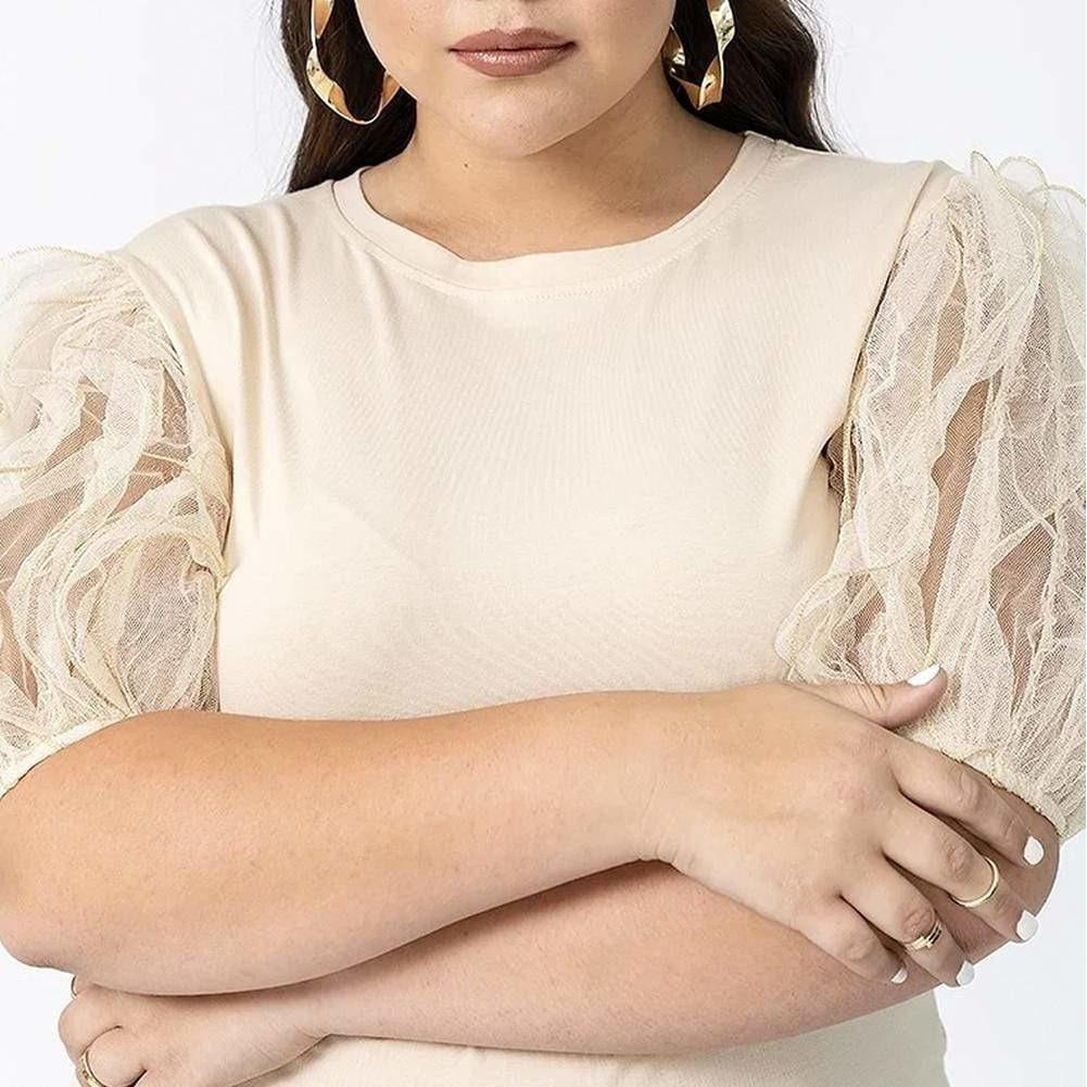 Posh Shoppe: Plus Size Sheer Puff Sleeve Tee, Cream Tops