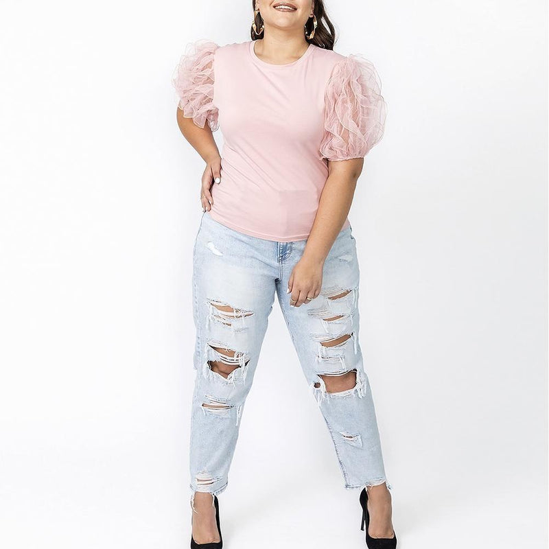Posh Shoppe: Plus Size Sheer Puff Sleeve Tee, Blush Tops