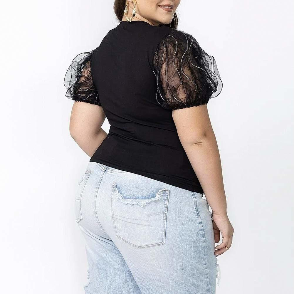 Posh Shoppe: Plus Size Sheer Puff Sleeve Tee, Black Tops