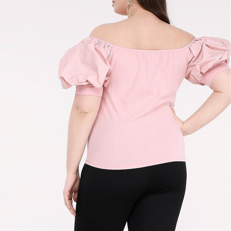 Posh Shoppe: Plus Size Bardot Puff Sleeve Tee, Blush Tops