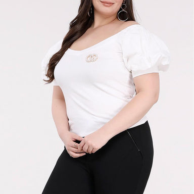 Posh Shoppe: Plus Size Bardot Puff Sleeve Tee, Cream Tops
