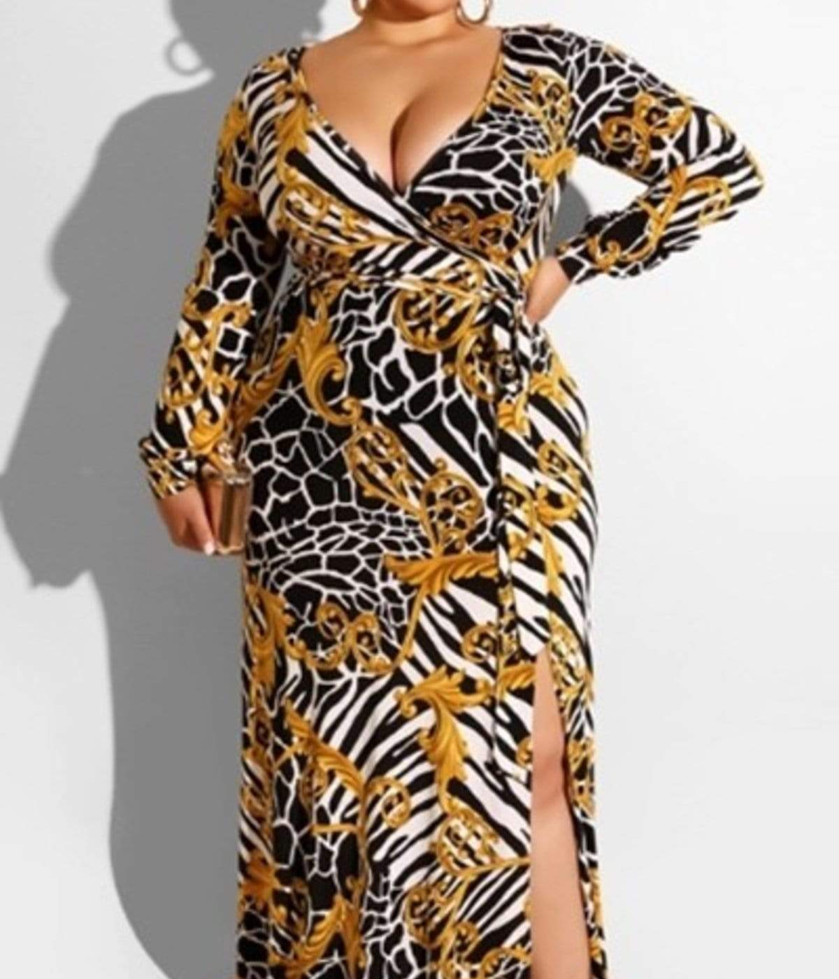 V Hem Open Fork Sexy Dress - Posh Shoppe