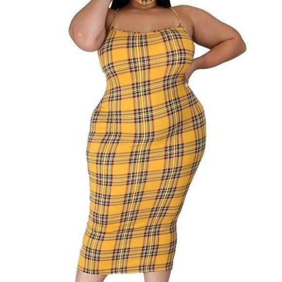 Yellow Checkered Dress with Face mask