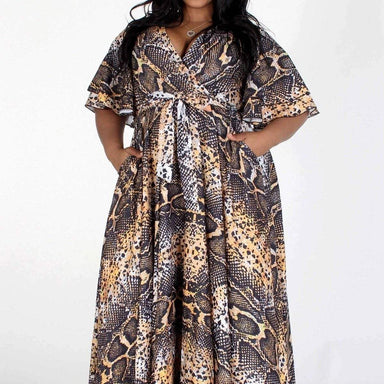 Posh Shoppe: Animal Sleeve Print V Neck Dress Dress