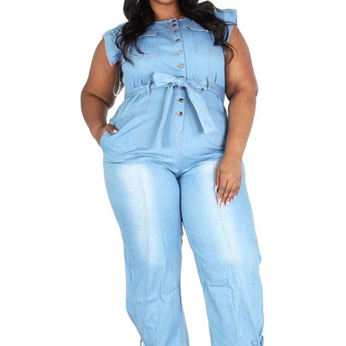 Plus Sleeveless Button Down Denim Jumpsuit with Pockets - Posh Shoppe