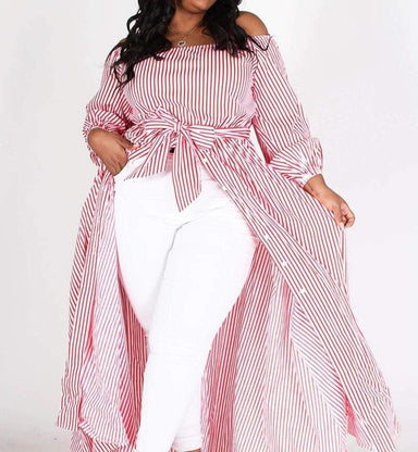 Posh Shoppe: Plus Size Stripe Off Shoulder Maxi Dress-Pink Dress