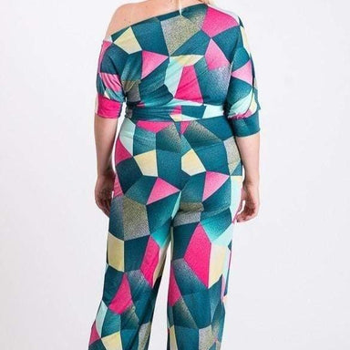 Posh Shoppe: Print jump suit o shoulder down Bottoms