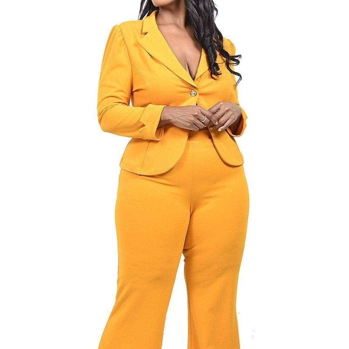 Plus Solid 2 Piece Jacket Set (Black/Mustard) - Posh Shoppe