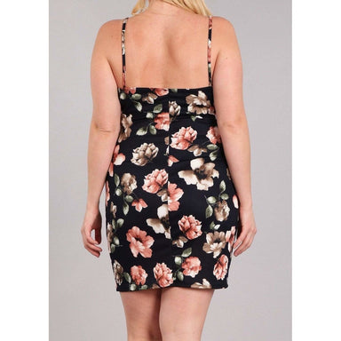 Posh Shoppe: Velvet Floral print Body con dress Dress