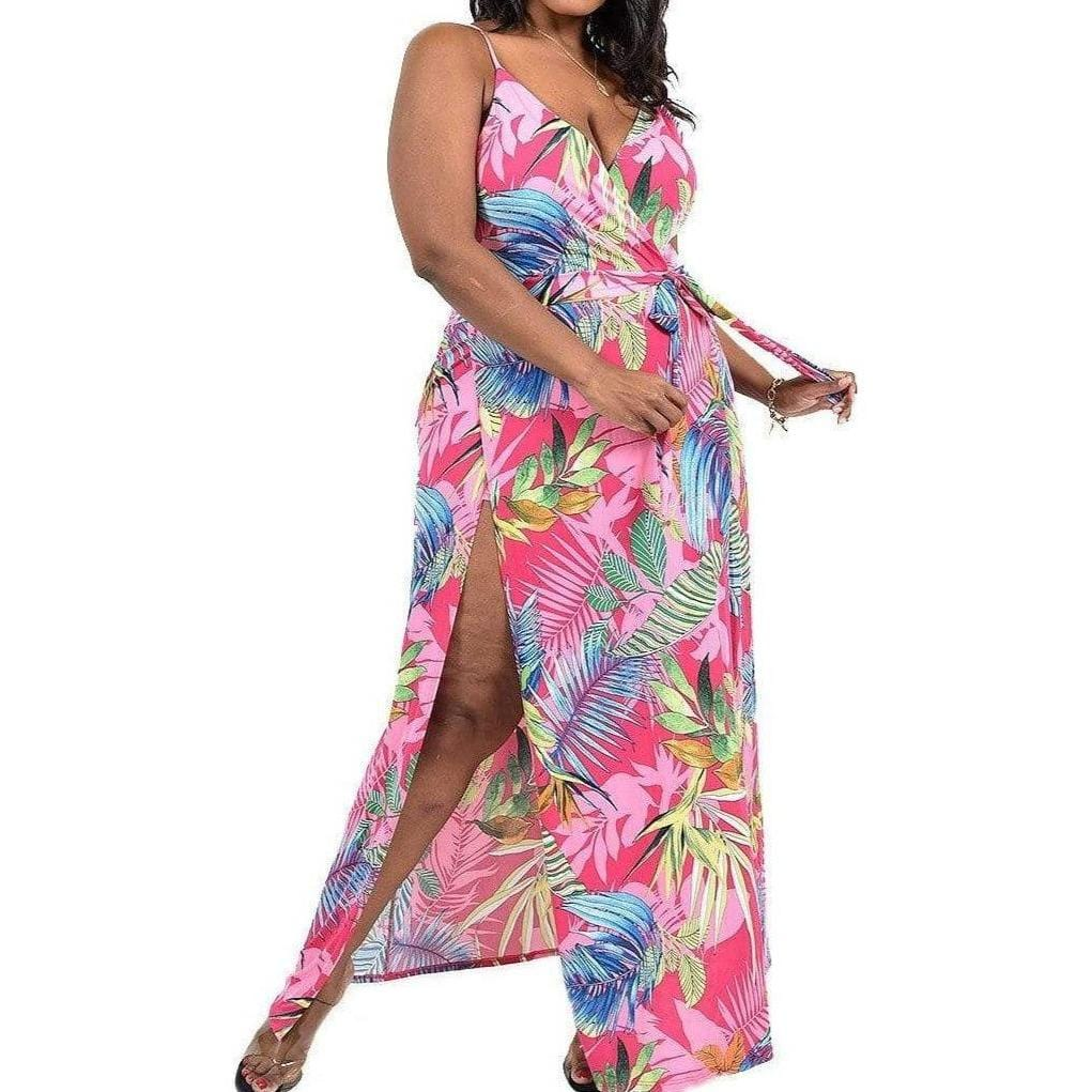 Leaf Print Surplice Maxi Dress with Shorts