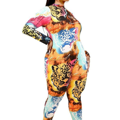 Plus Multicolor Tiger Mask Print Jumpsuit - Posh Shoppe