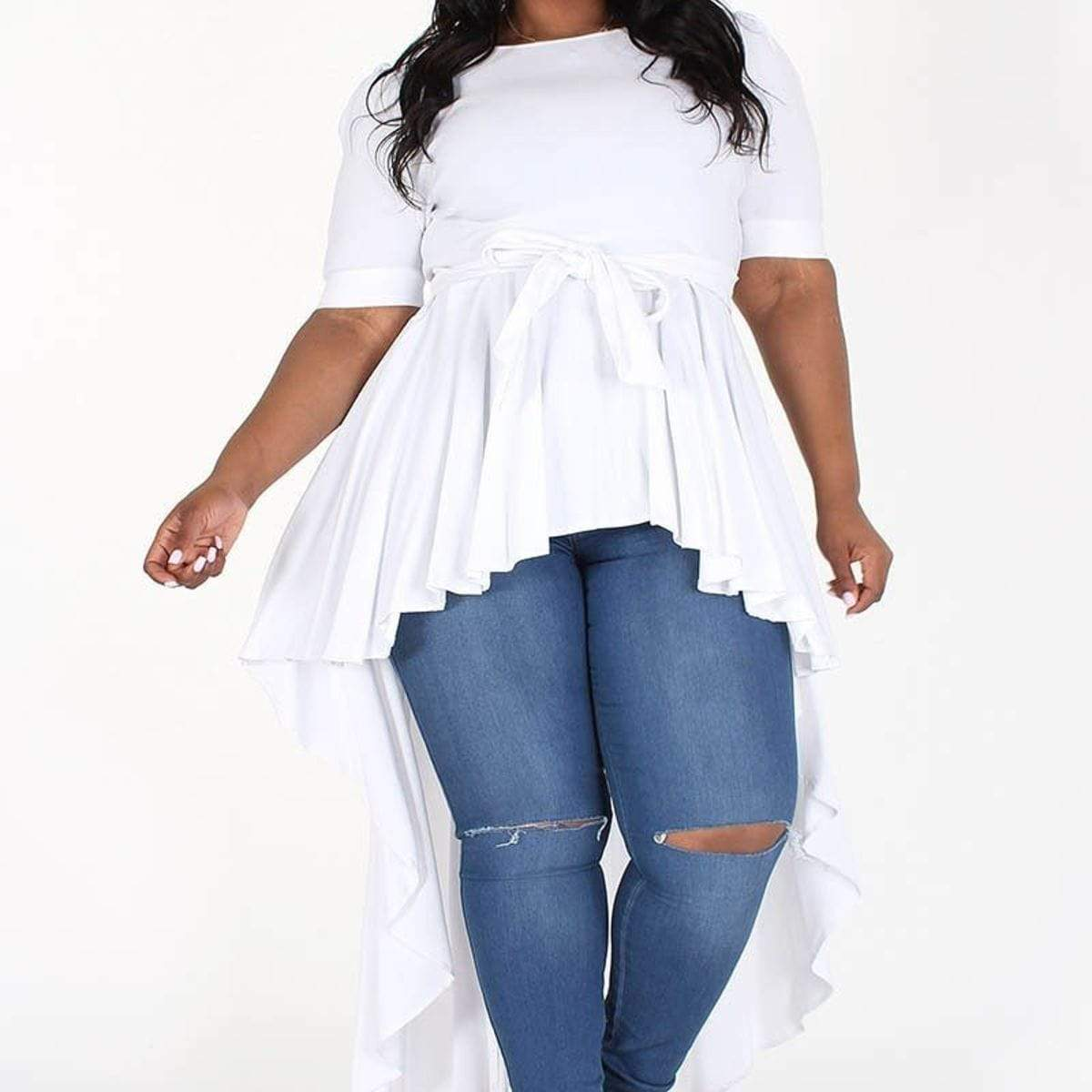 PLUS SIZE Empire Waist Hi-low Top with Bow Detail and Ruffle Trim